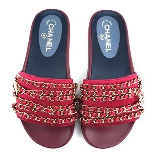 Red Cc Mules with Gold Chains Hardware Sandals